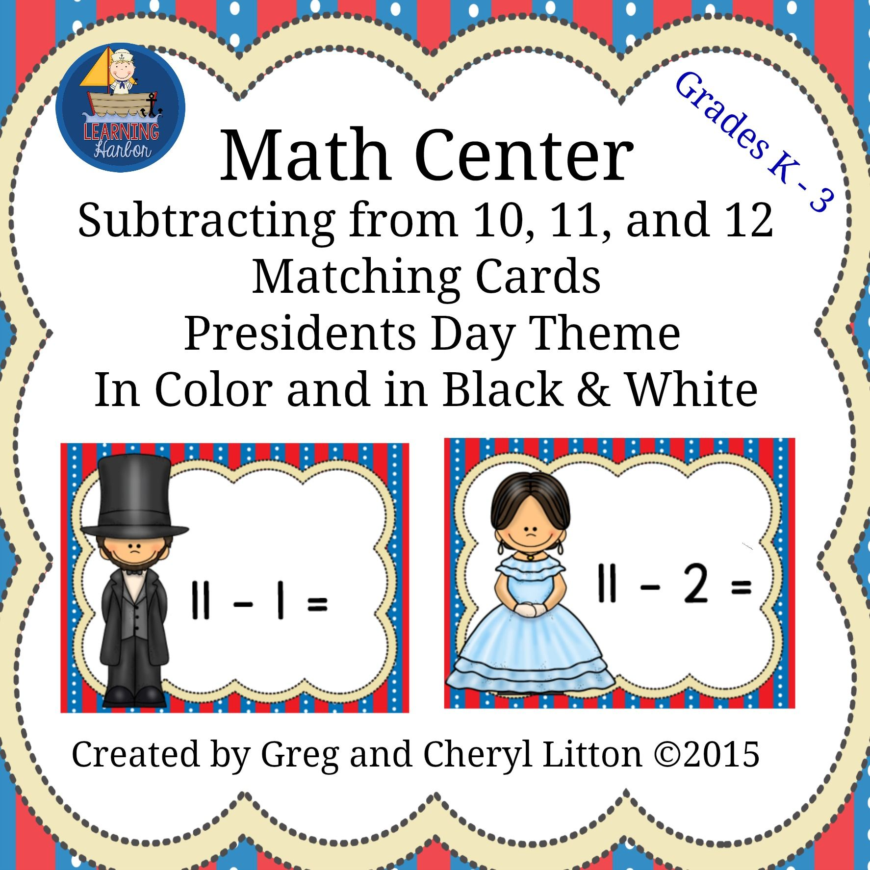 Math Center Subtraction From10 11 And 12 Matching Cards