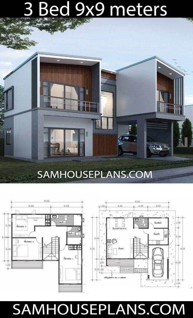9x9 Room Design: House Plans Idea 9x9 With 3 Bedrooms En 2020