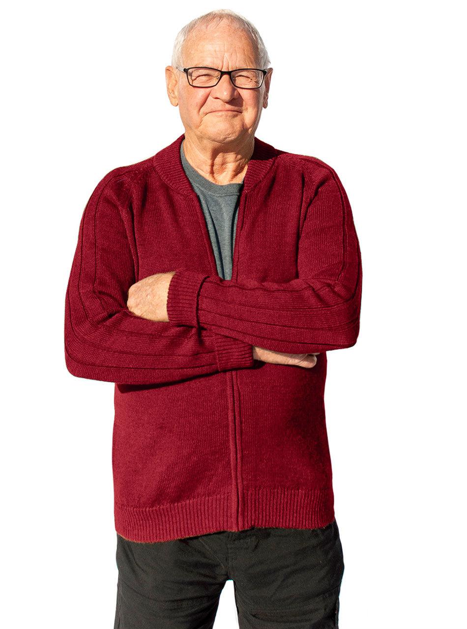 Mister Rogers Cardigan Sweater Raglan Rib Sweater Collection Sweater Cardigan Burgundy Sweater
