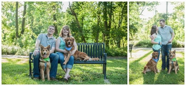 Patapsco State Park engagement photo with cute dogs #jennashriverphotography http://jennashriver.com/?p=93
