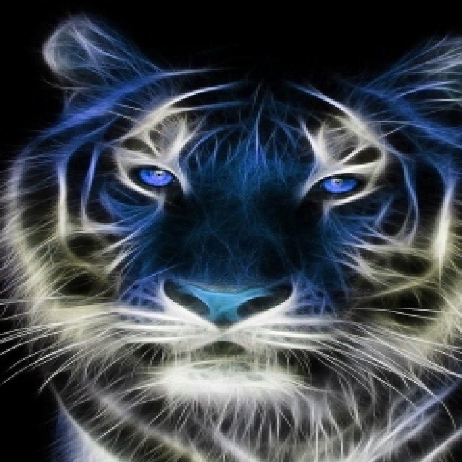 Blue Tiger Fractal Art Set Of 4 Rubber Backed Coasters Ebay Big Cats Art Animals Beautiful Animals