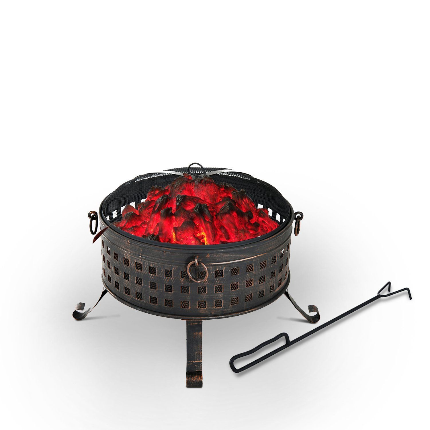 outsunny metal outdoor round firepit log wood burning heater garden