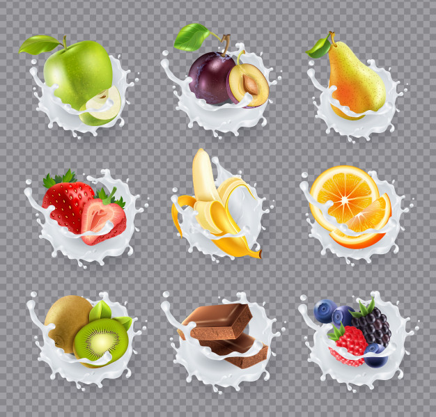 Baixe Leite De Frutas Espirra Conjunto Realista Gratuitamente Fruit Splash Milk Splash Fruit Packaging