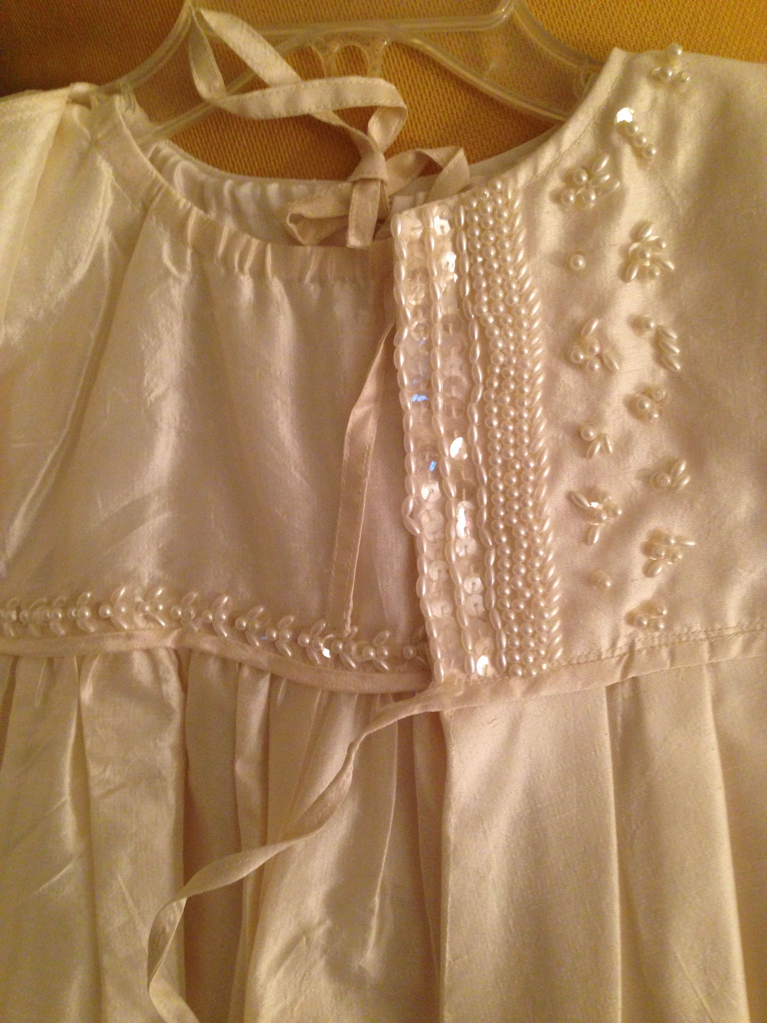 Hand bead embroidery for a Christening Gown for my sons - handmade from my wedding dress.