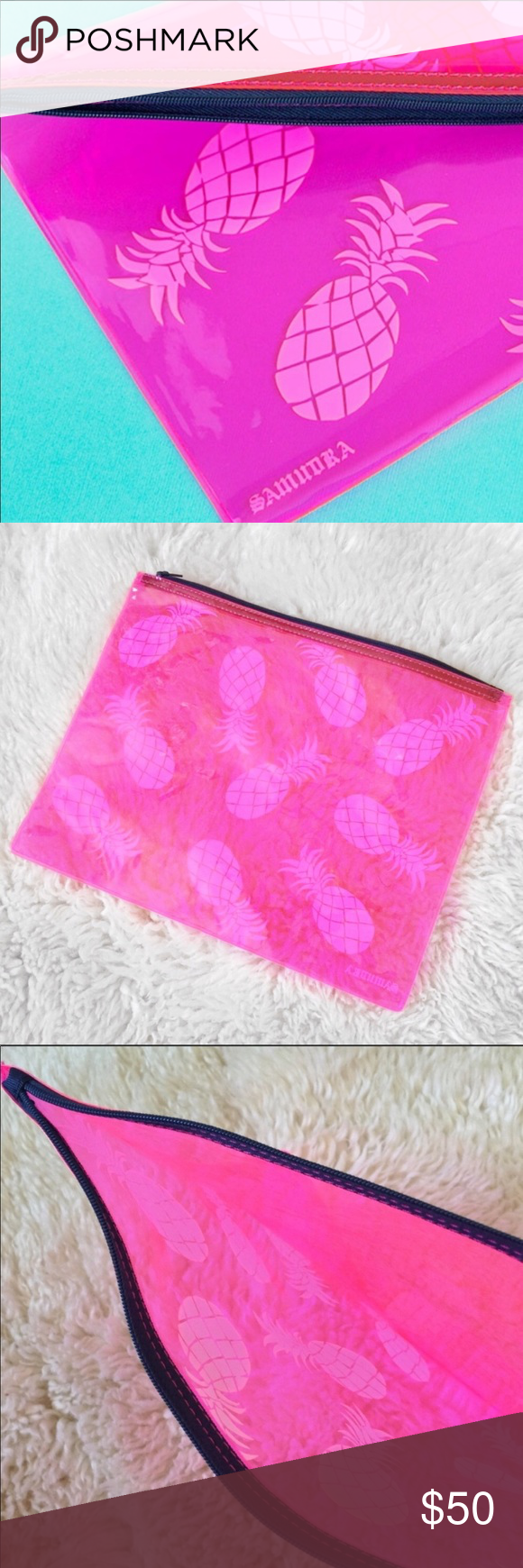 Saundra Pink Pineapple Zippered Travel Pouch NWOT Saundra