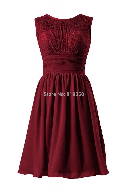 Burgundy lace bridesmaid dresses a line cheap o neck chiffon