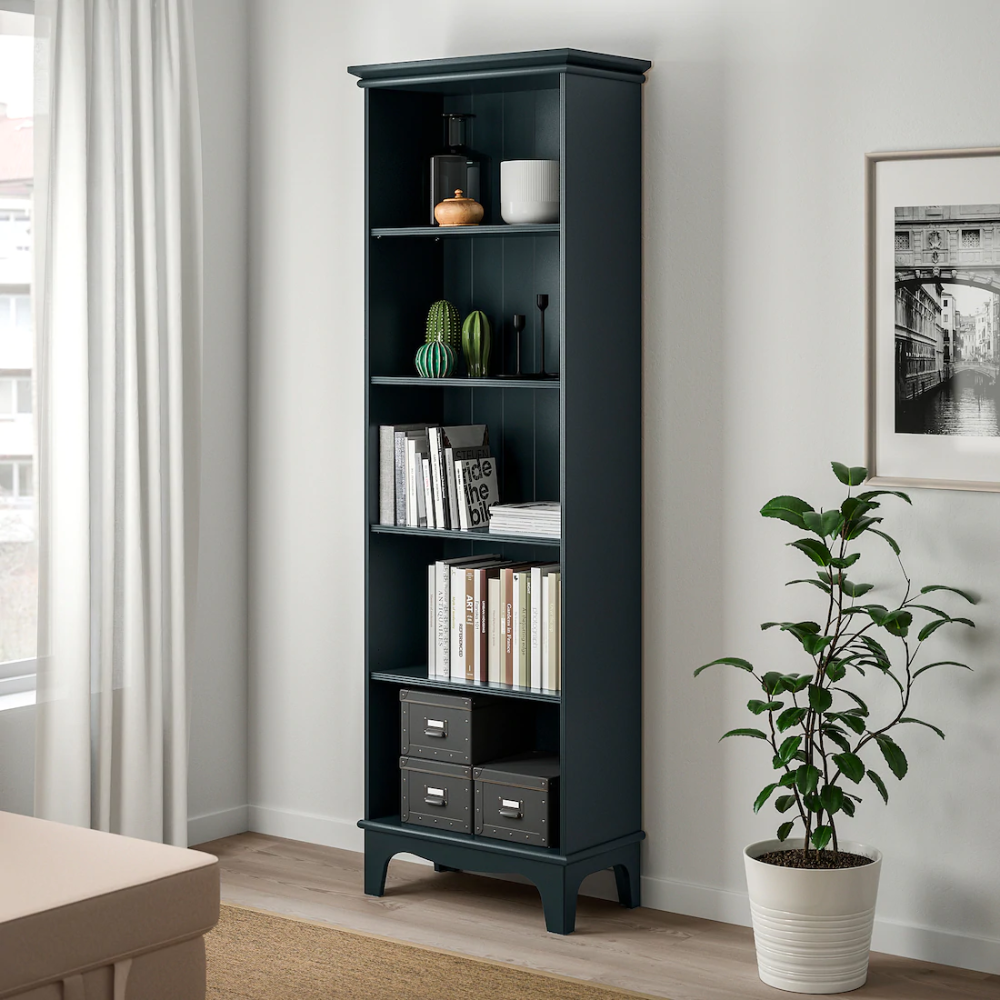 Lommarp Bookcase Dark Blue Green 25 5 8x78 3 8 Ikea In 2020 Blue Bookcase Bookcase Lighting Bookcase