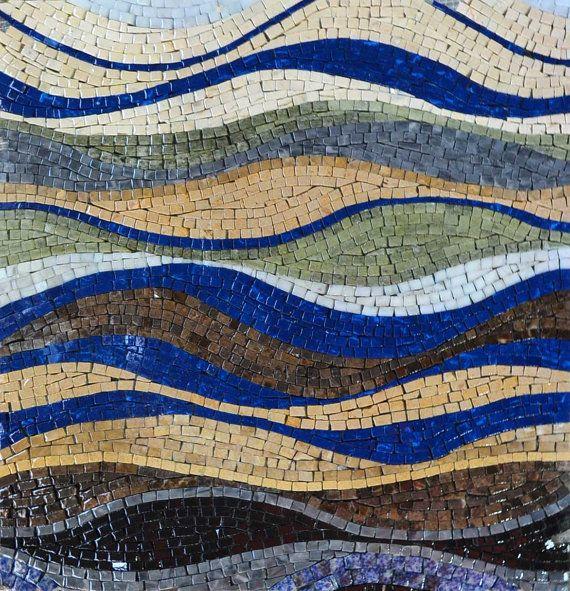 Decorative Tile Art Waves Design Mosaic Marble Stone Decorative Tile Artwork For Home