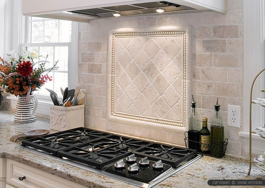 Antiqued 4x4 ivory travertine backsplash tile cabinet countertop from kitchens - Backsplash designs travertine ...