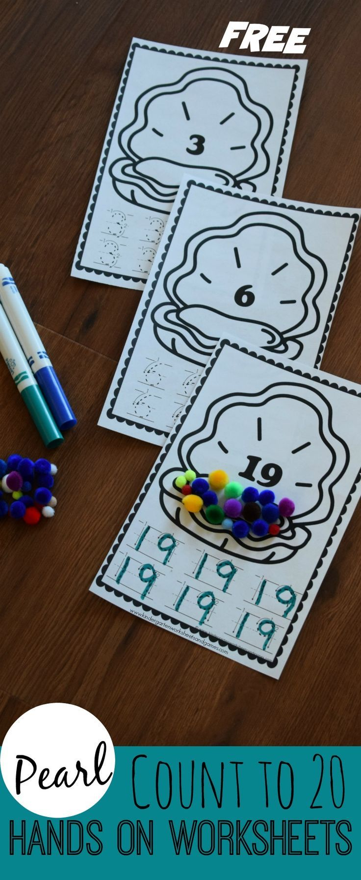 FREE Pearl Count to 20 Hands-on Worksheets - these are such a fun ...