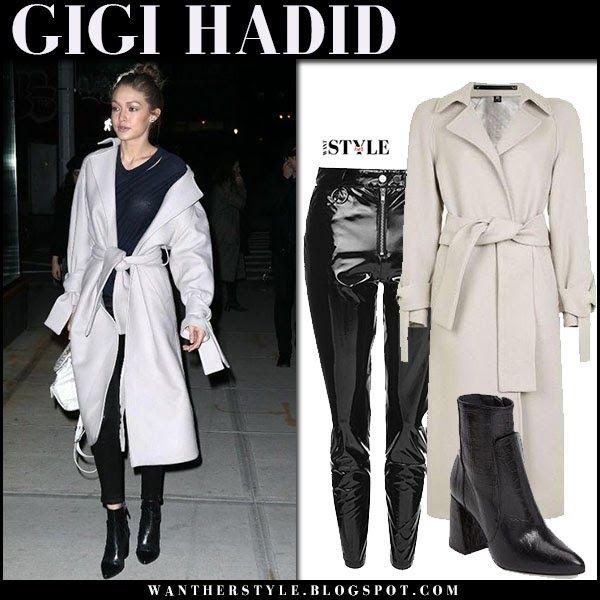 Gigi Hadid in grey wool coat and black vinyl pants in New