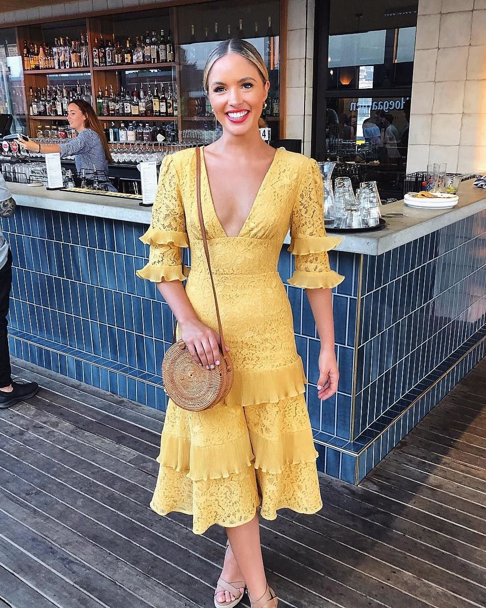 "8f565541059 Keepsake The Label on Instagram  ""A ray of sunshine ~  oliviamollyrogers  wears her Timeless Lace Midi Dress in golden yellow   available online ..."