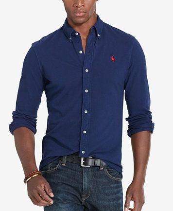 5154d38358 Polo Ralph Lauren Men s Featherweight Mesh Shirt - Casual Button-Down Shirts  - Men - Macy s