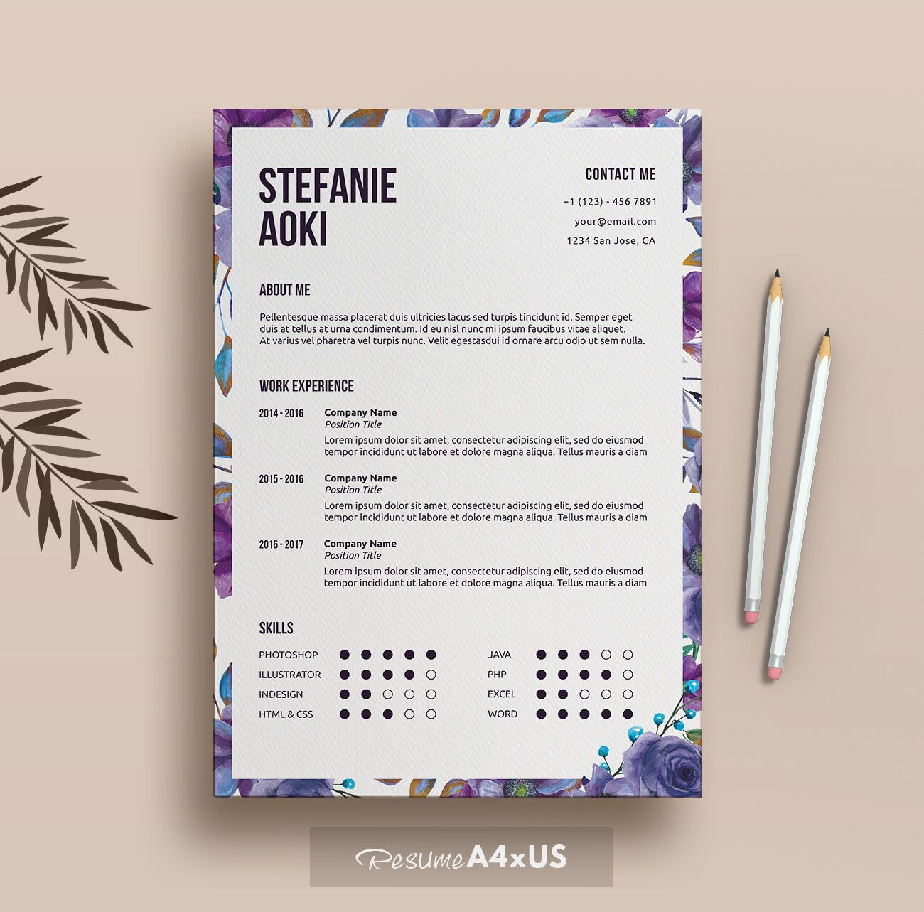 Floral  Page Resume Template  Cover Letter Reference Letter