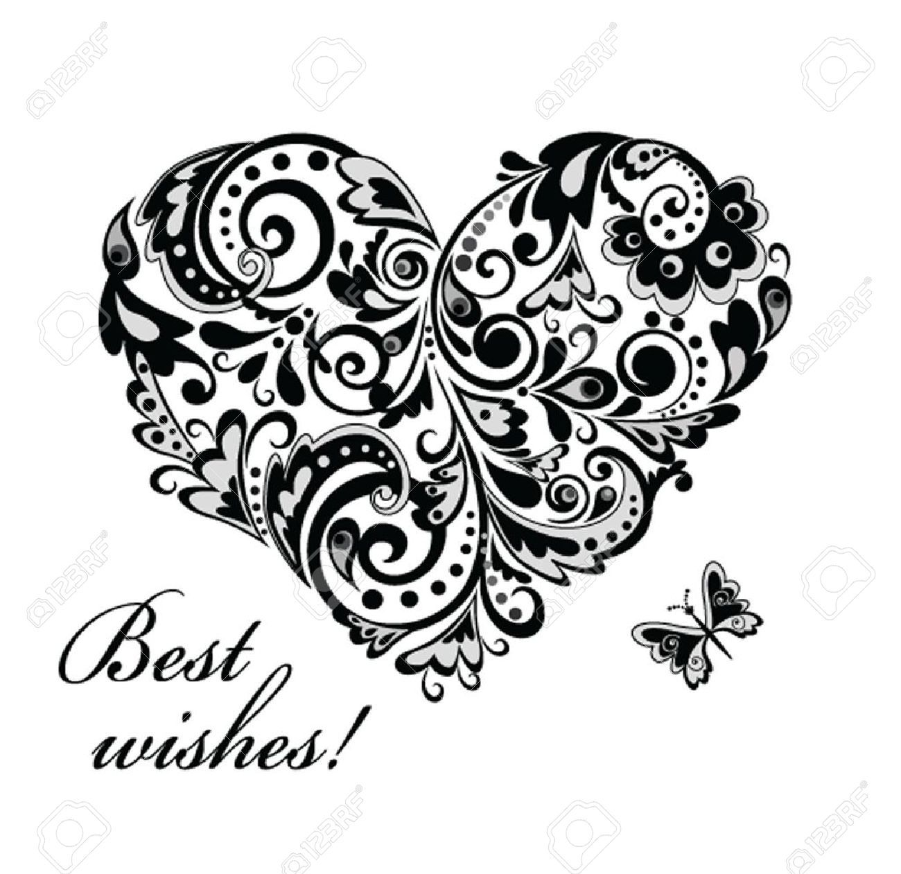Image Result For Black And White Heart Stencil