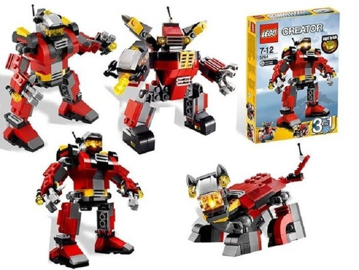 Lego Creator 5764 Rescue Robot 3 In 1 Retired 2011 Set W Light