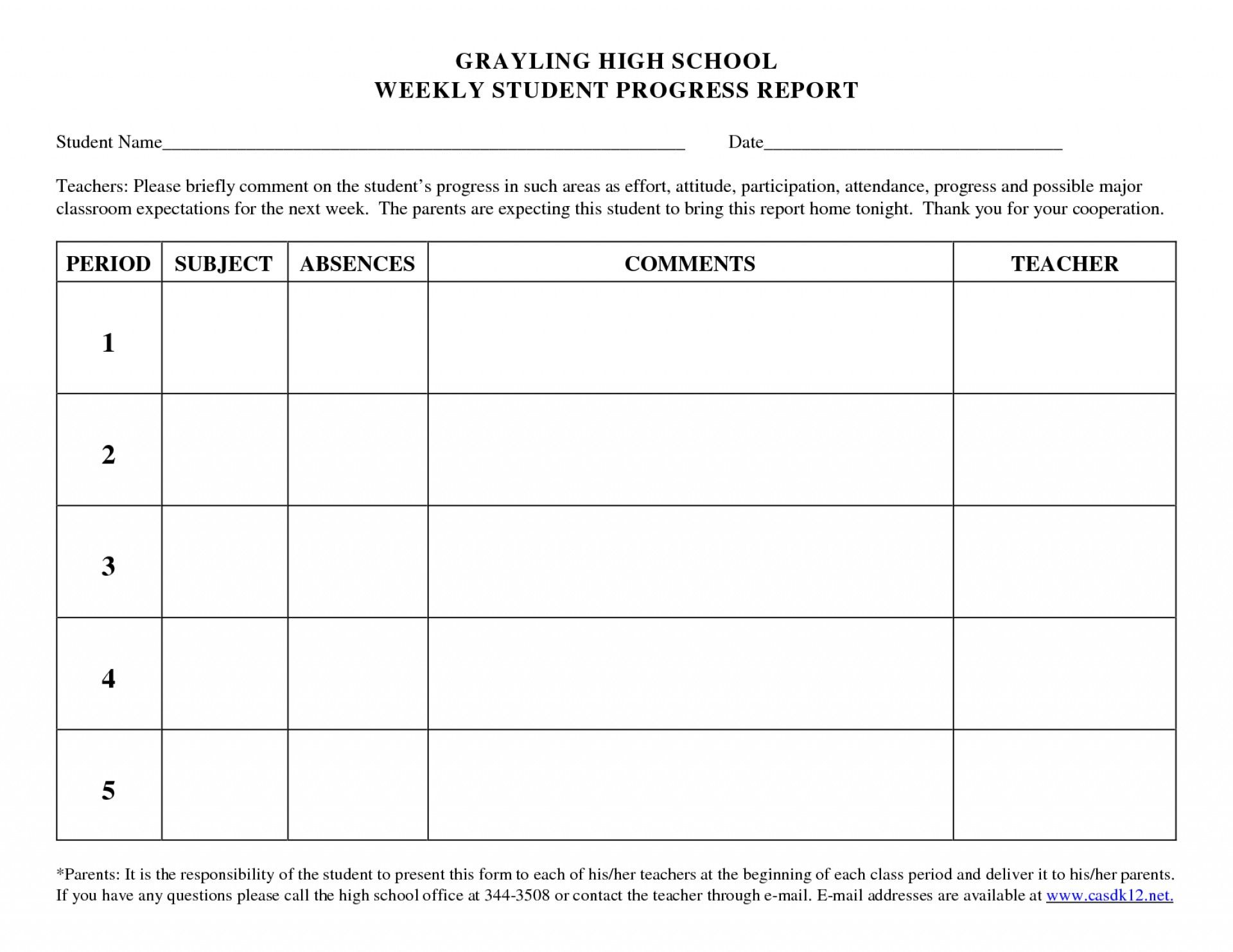 Beautiful Student Progress Report Template Ideas High