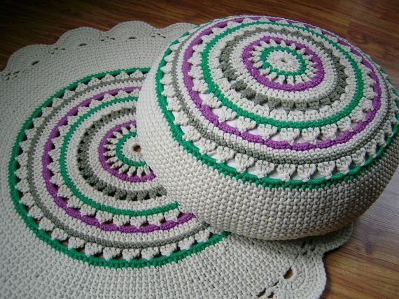 Crochet Pouf Ottoman Floor Cushion Eco Friendly