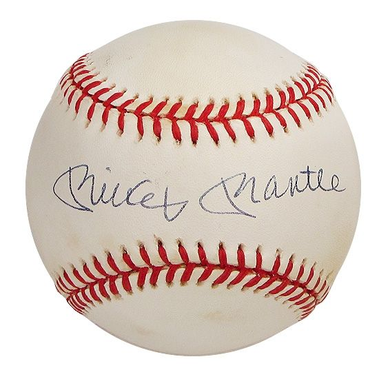 Mickey Mantle Autographed Official American League Baseball Gai Coa Mickey Mantle American League Autograph