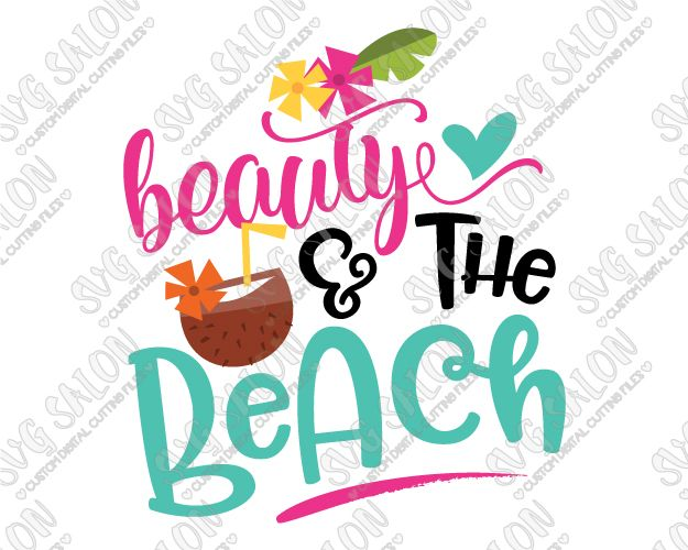 Beauty and the Beach Cut File in SVG, EPS, DXF, JPEG, and
