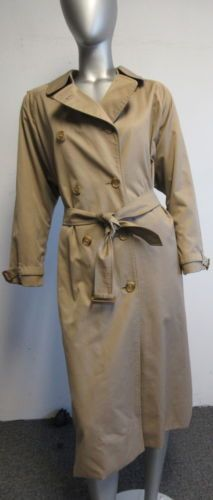 Burberrys' tan 5- double breasted button belted  trench coat sz XL/ 14