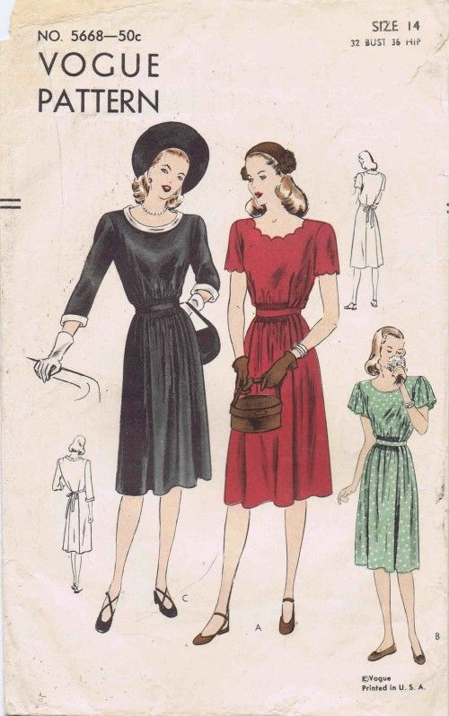 1940s Vogue 5668 Vintage Sewing Pattern Maternity Dress My Style