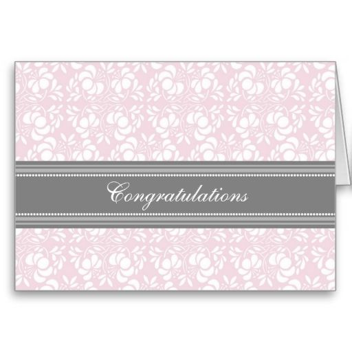Pink Gray Damask Congratulations on Expecting Greeting Card