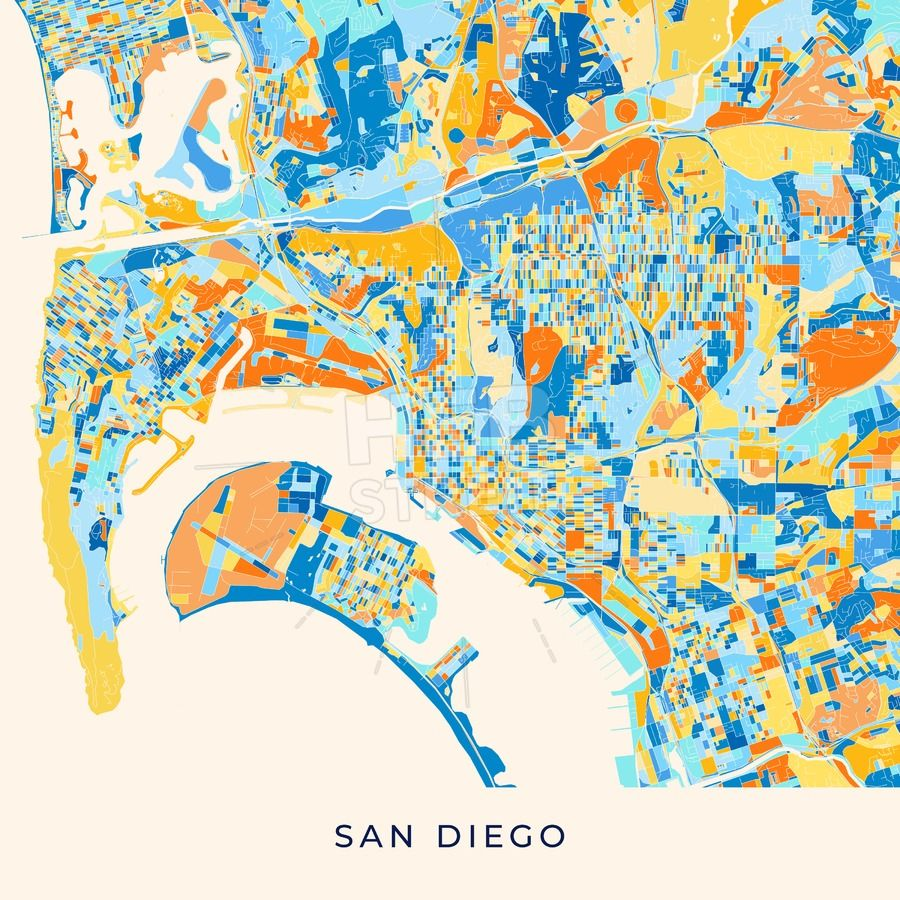 San Diego colorful map poster template | Streit