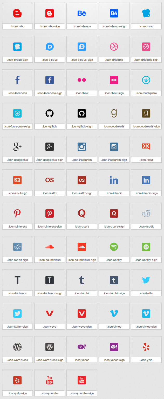 Socialicious A social media icons library in font form