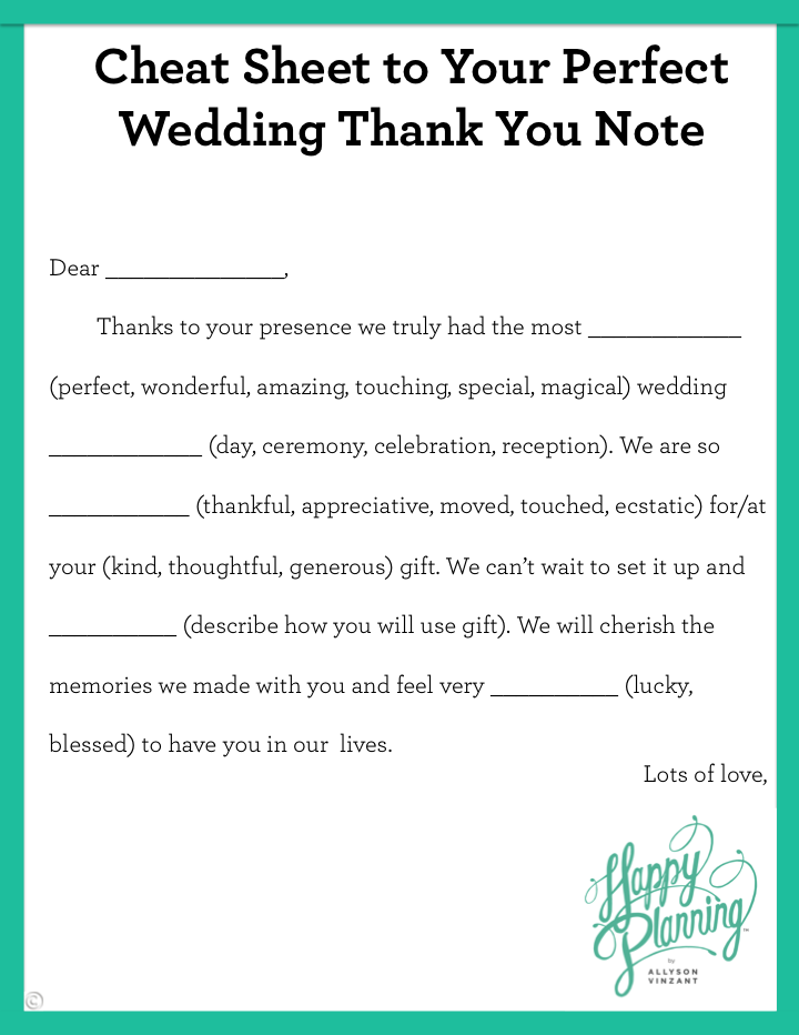Cheat Sheet To Your Perfect Wedding Thank You Note Allyson Vinzant Wedding Thank You Wedding Thank You Cards Wedding Event Planning