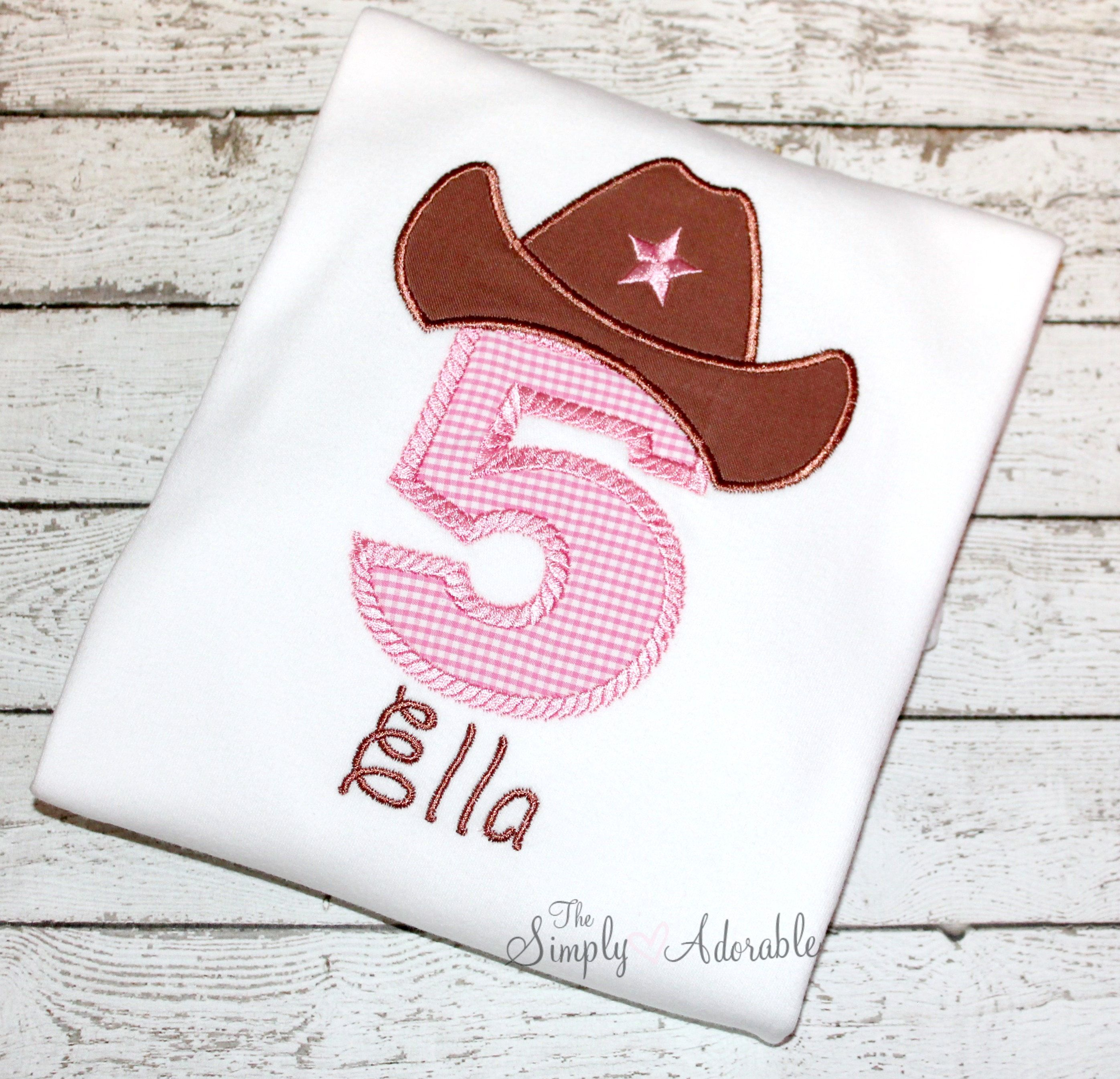 Girl S Cowgirl Birthday Shirt Cowgirl Hat Shirt Cowboy