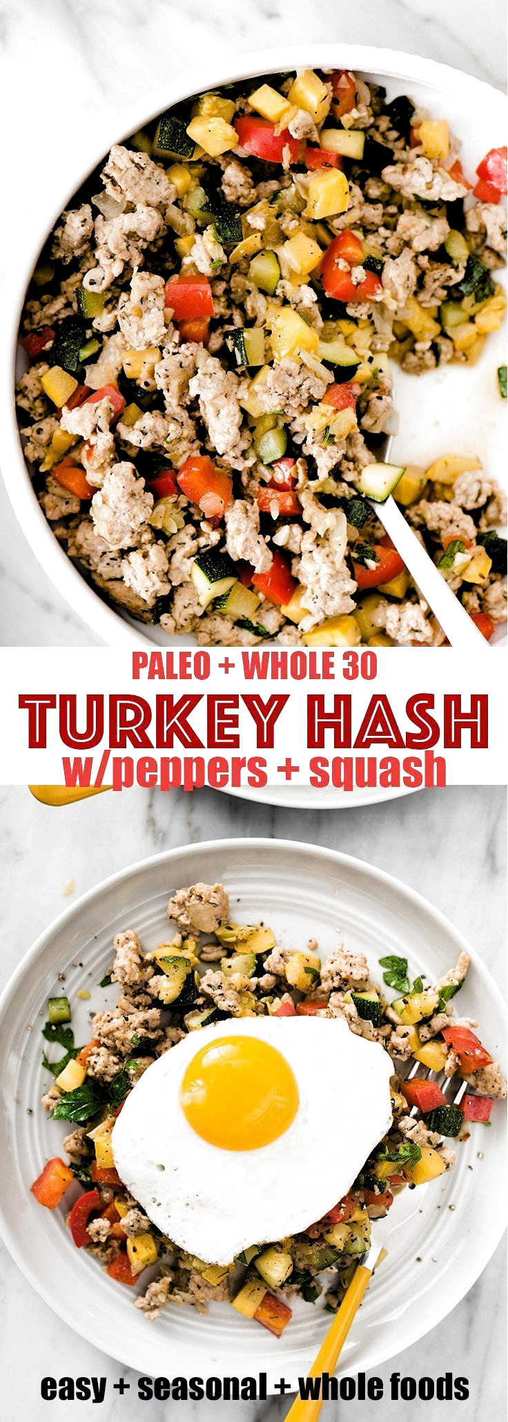 Ground turkey hash is one of my favorite paleo breakfast recipes. Its ready in less than 30 minutes, and is naturally paleo, whole 30 and gluten-free. #realfood #wholefood #paleo #whole30 #glutenfree