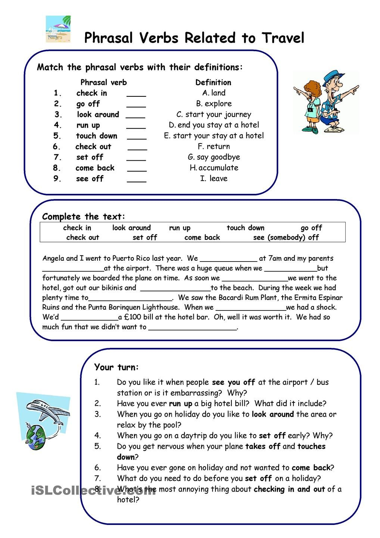 medium resolution of Phrasal Verbs related to Travel   Teaching vocabulary