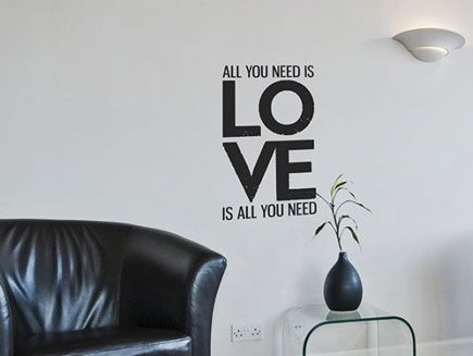 All You Need is Love Wall Sticker - designer quote wall decor | LOVE ...