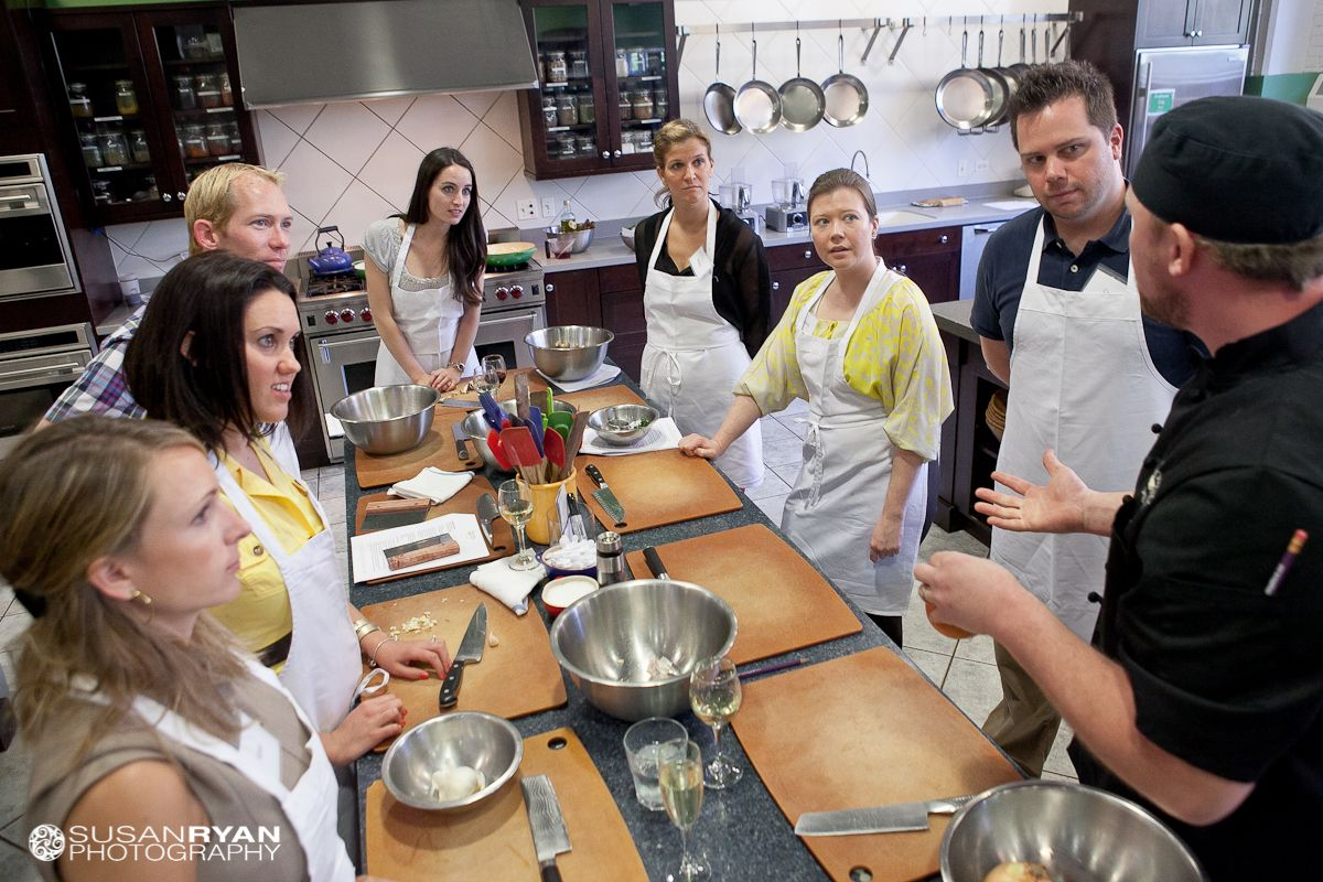 Chef Jeff addresses a group during a private party at The Chopping Block.
