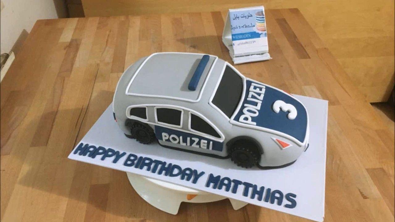 Polizei Auto Torte Police Car Cake كيكة سيارة شرطة Youtube Police Car Cakes Car Cake Police Cars
