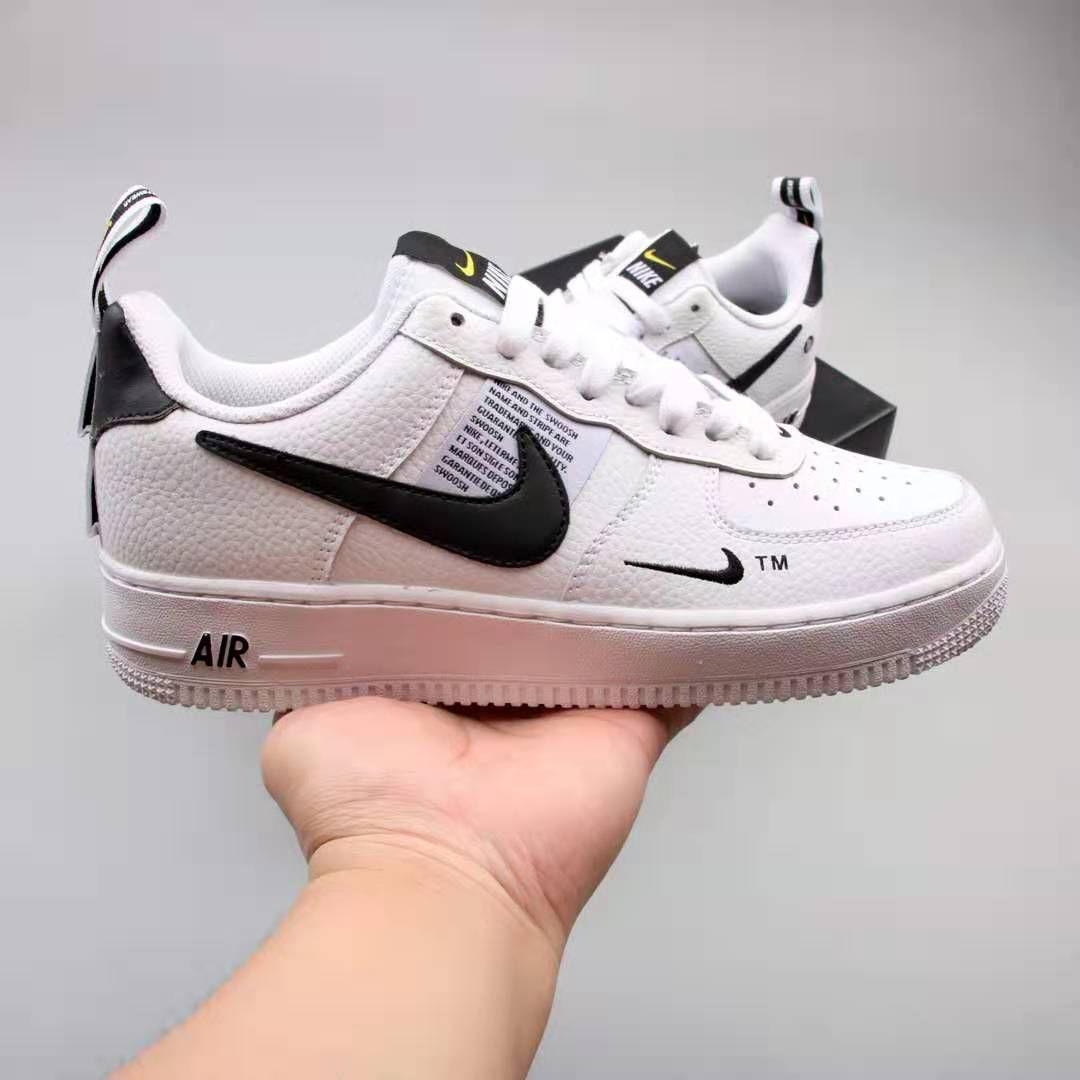 Nike Air Force 1 07 Lv8 Utility Overbranding White Black Aj7747 100 Zapatos Hombre Zapatos Zapatillas