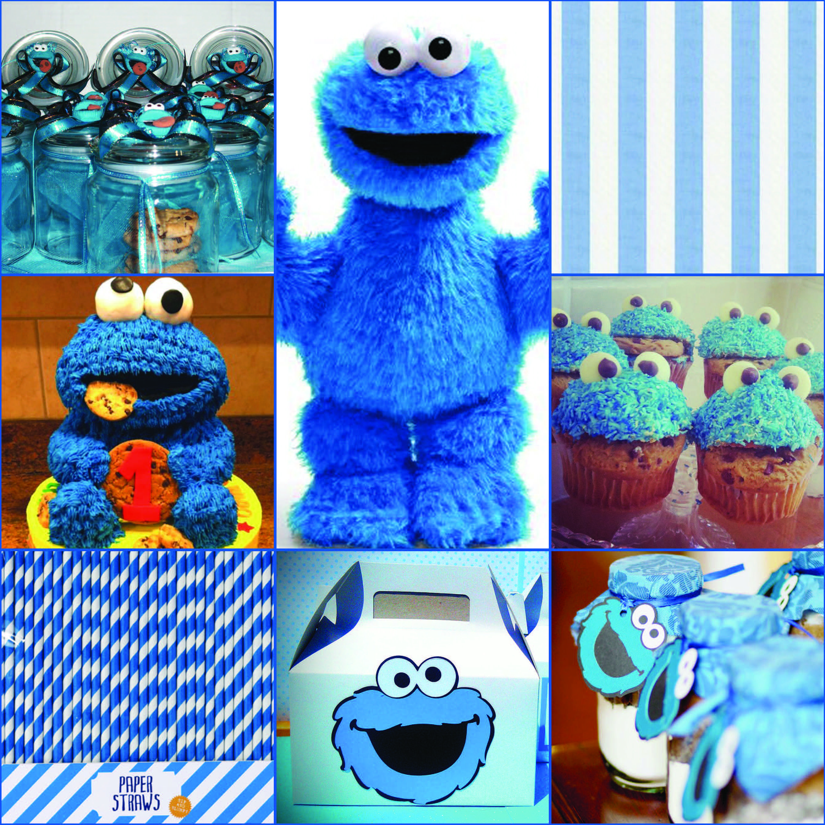 - Cookie Monster Party Mood Board. Colour Scheme: Blue, Chocolate