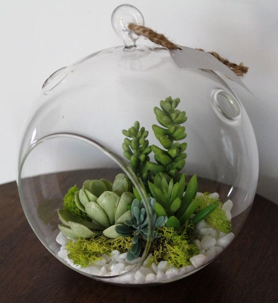 Artificial Succulent Round Vase Terrarium 3 Home Decor I Love