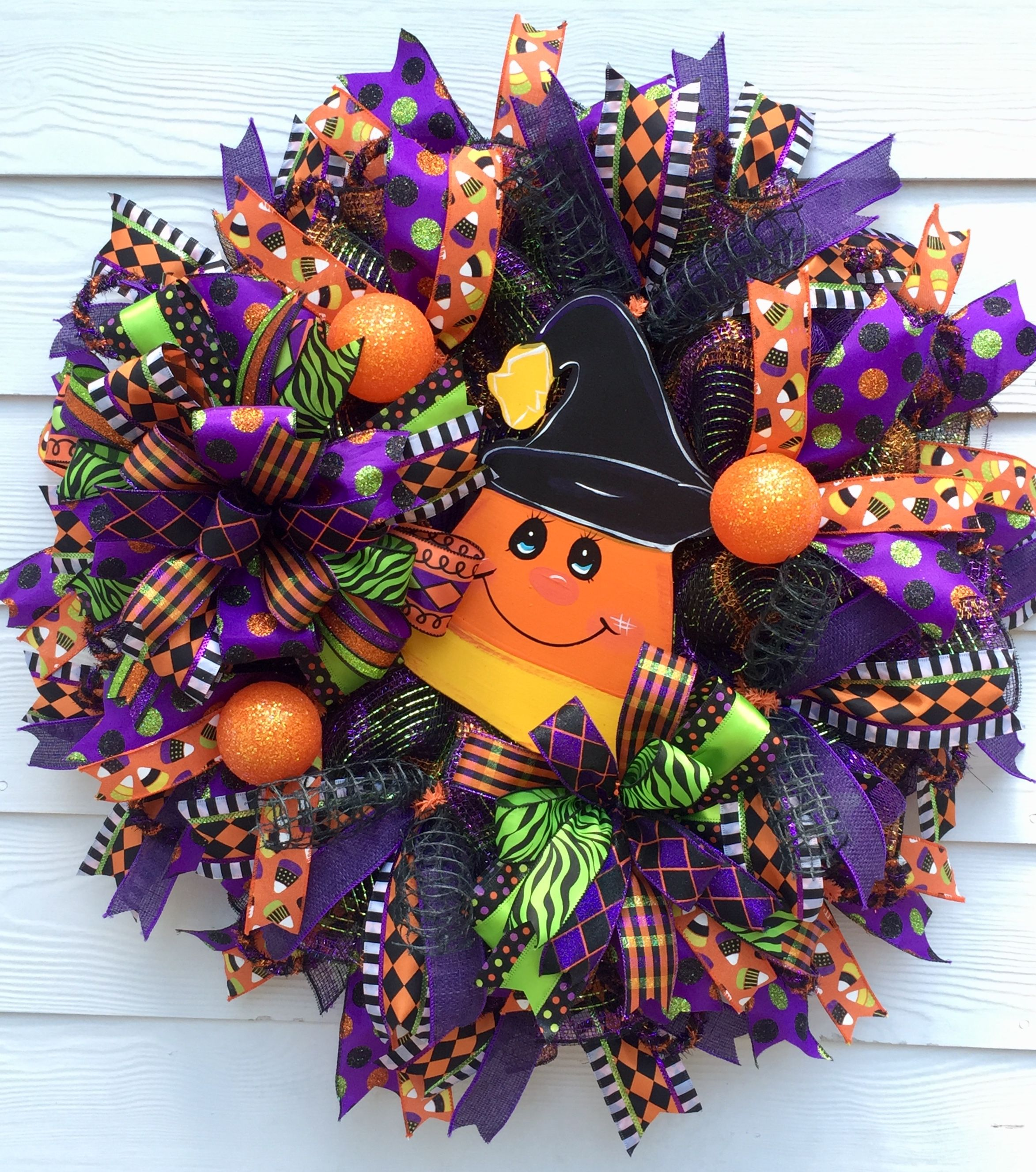 Halloween Wreath, Candy Corn Wreath, Fall Wreath, Whimsical Wreath