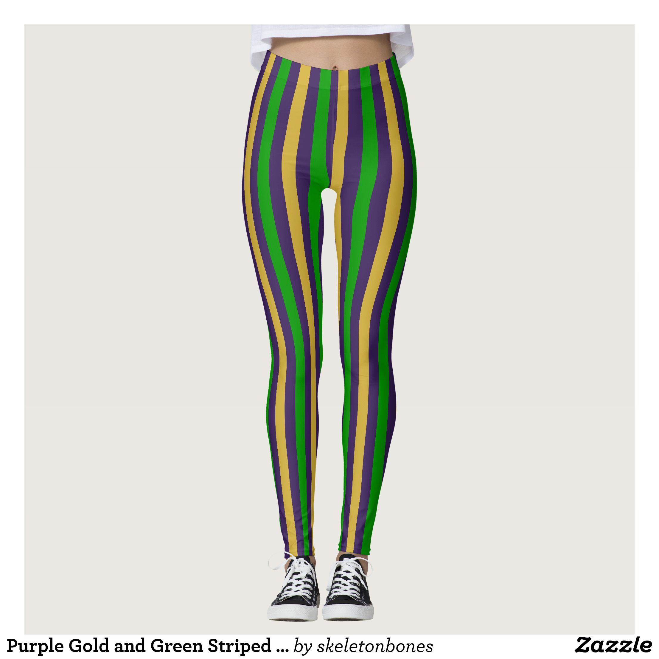 Purple Gold and Green Striped Mardi Gras Leggings