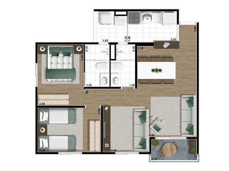 decoracaoapartamento60m (2) Apartamentos pequenos em