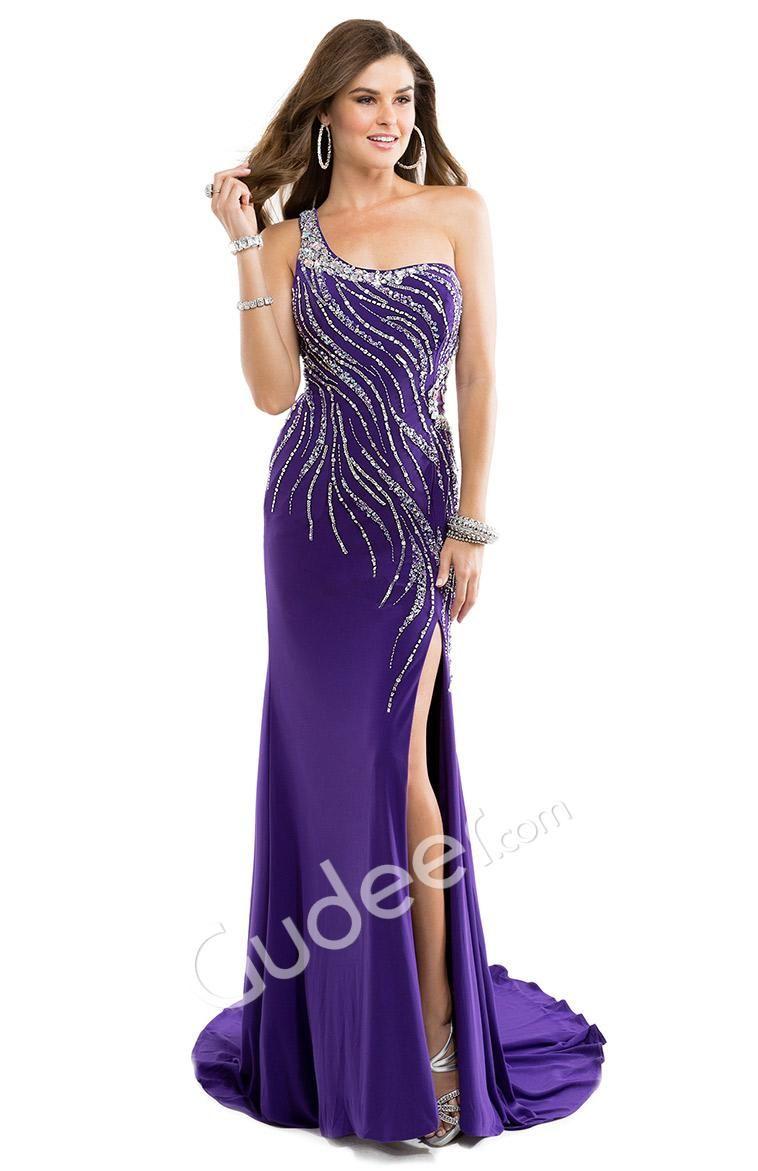 Sleeveless One Strap Column Prom Dress with Side Slit | Prom Dresses ...