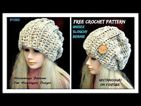 Gorro slouchy unisex tejido a crochet - YouTube | GORROS | Pinterest ...