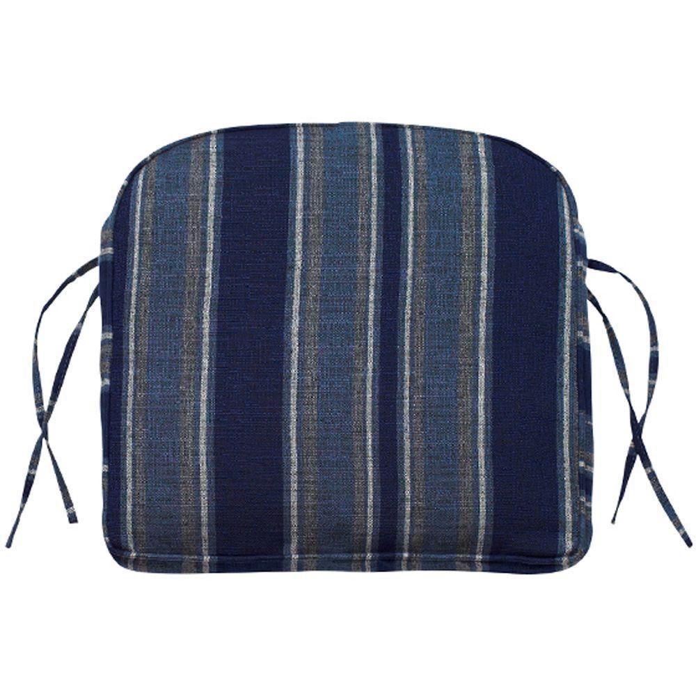 Home Decorators Collection Inspire Indigo Sunbrella Contoured Box-Edge Outdoor Chair Cushion