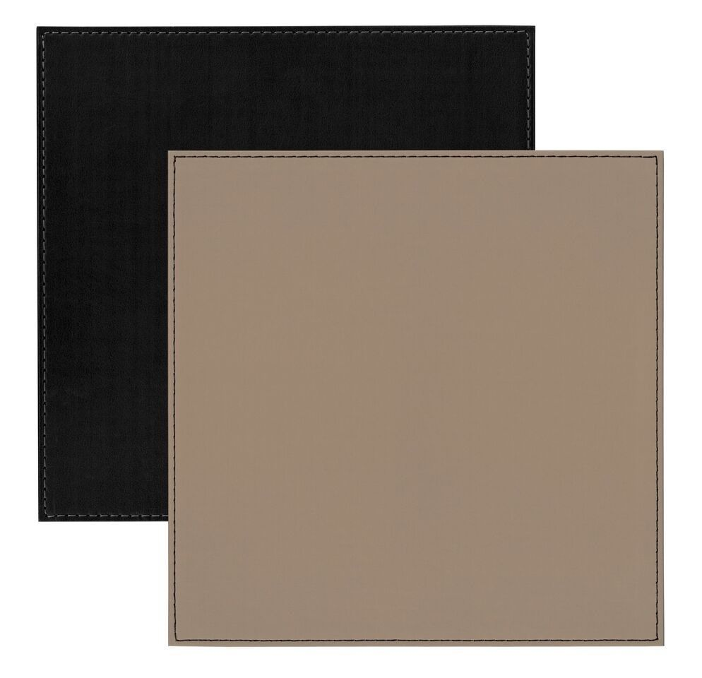Faux Leather Stitch Set Of 4 Square Placemats Reversible Black Taupe 5020057312982 Ebay Square Placemats Placemats Faux Leather