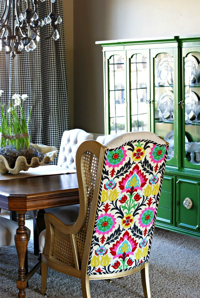 That Amazing Fabric Plus Emerald Green Hutch In Background Black And White