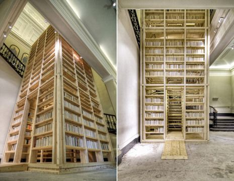 Wow....you just have to check this out.  I love love love this idea.  The bookshelves are an amazing feature, and you can climb inside the tower.