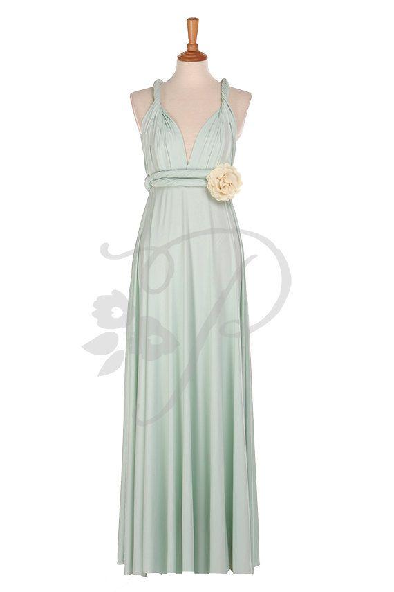 Bridesmaid Dress Mint Maxi Floor Length, Infinity Dress, Prom Dress ...