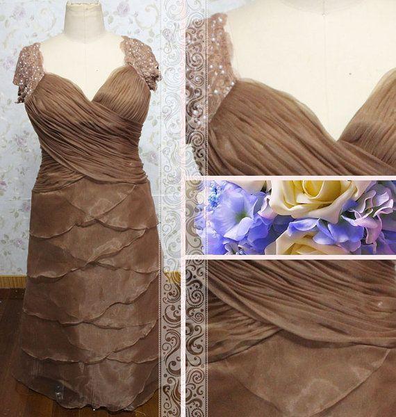 Chocolate beaded short sleeves column lace by Loveannaweddingdress, $235.00